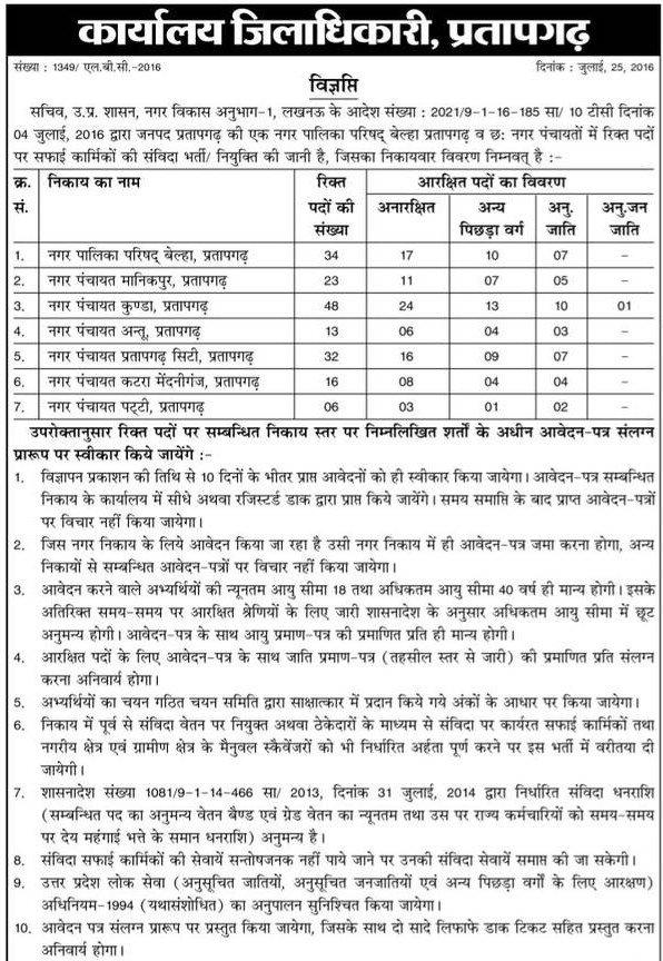 UP safai karmi Bharti 2019 - 2020 Download Application Form Online