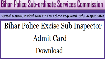 Bihar Police SI Admit Card 2019 - 2020 Out Online Download SI